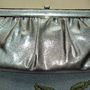 Silver Textured Vinyl Bag Hollywood Glam Clutch Mad Men Style Purse Vintage 1960&#x27;s