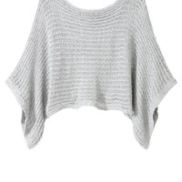 Cropped Metallic Crochet Sweater - Ultimate Outlet