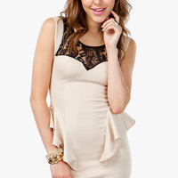 Lace Cut Out Peplum Sheath Dress