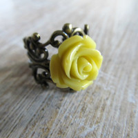 Mustard yellow flower ring - rose ring - adjustable brass filigree ring
