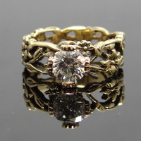 Amazing Unique Floral Band 14K Yellow Gold Filigree Diamond Engagement Ring - RGDI137P