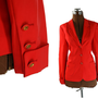 1970s Vintage Louis Feraud Blazer, Poppy Red Wool Silk 8 M