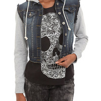 Judy Blue Grey And Dark Denim Hooded Jacket | Hot Topic