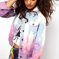 ASOS Denim Western Jacket in Bleach and Dip Dye Wash at asos.com