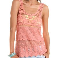 Tiered Crochet &amp; Lace Tank: Charlotte Russe