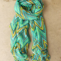 Zig Zag Ikat Scarf in Green [3867] - $16.00 : Vintage Inspired Clothing & Affordable Summer Frocks, deloom | Modern. Vintage. Crafted.