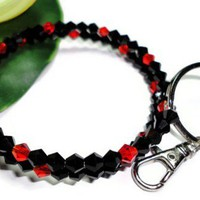 Keychain Bracelet Crystal Red and Black Wristlet Id Badge Holder