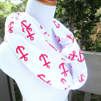 Red Nautical Anchor infinite scarf- Soft Jersey knit-ready to ship within 1-2 days