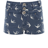 Parisian Blue Swallow Print High Waisted Denim Shorts