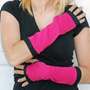hot pink and black stretch arm warmers, fingerless gloves