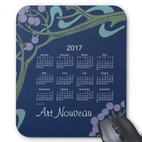 Art Nouveau 2017 Calendar Mouse Pad from Zazzle.com