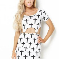 Cross Print Mini Dress
