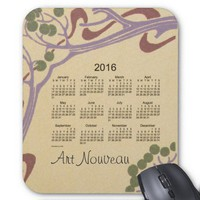 Art Nouveau 2016 Calendar Mouse Pad from Zazzle.com
