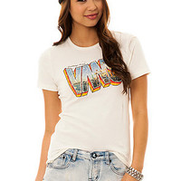 Vans Tee Greetings Fitted Crew in Cream