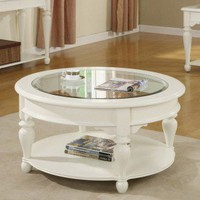 Riverside Furniture Essex Point Round Cocktail Table in Shores White - 1103S - Accent Tables - Decor