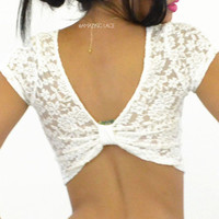 Venetian Lace Ivory Bow Back Crop Top