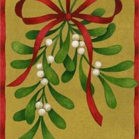 MISTLETOE W/RED RIBBON CHRISTMAS BOXED CARD