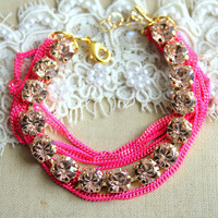 Neon Pink Rhinestone crystal bracelet  - 14k plated Swarovski Crystal Bracelet