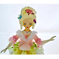 Marie Antoinette Paper Art Doll with Bird Cage by kellbellestudio