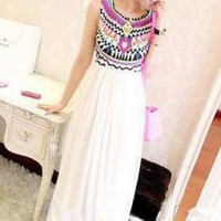 TRIBAL MULTI-COLOR PRINT LONG DRESS