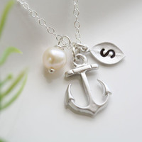 Anchor Necklace,Anchor with leaf initial,Pearl,Sailors Anchor,Wedding Jewelry,Bridesmaid gifts,daily Jewelry,strength