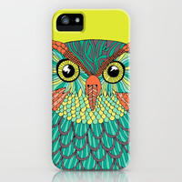 owl - Lime green iPhone & iPod Case by Bluebutton Studio