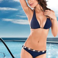 2013 new blue Split steel ring sexy bikini swimsuit