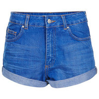 MOTO High Waisted Denim Shorts - Denim  - Clothing
