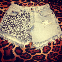 Vintage ripped leopard print high waisted jean shorts by mollicz13
