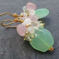Mint green chalcedony, moonstone earrings moss aquamarine gold vermeil pastel shades english garden fairy sprite gemstone jewelry -Phlox-