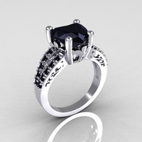 Modern French Bridal 18K White Gold 3.0 Carat Heart Black Diamond Solitaire Engagement Ring R134-18WGBDD