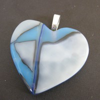 Fused Glass Heart Pendant - Darlington - 3861 - $32.00 - Handmade Crafts and Vintage Items by MySassyGlass