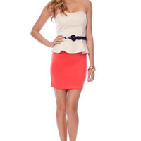 Vanna Belted Peplum Dress in Coral :: tobi