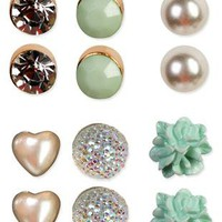 6 pair set of various stud earrings - 1000047793 - debshops.com