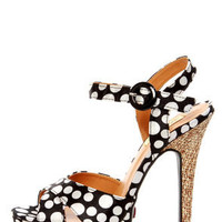 Promise Jerri Black and White Polka Dot Platform Heels