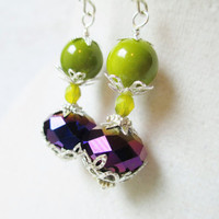 Lime Green & Eggplant Purple Layered Victorian Earrings