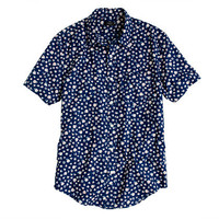 Indigo Short-sleeve shirt in floral reverse print