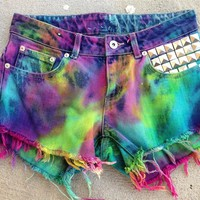 Vintage mid  Waisted RAINBOW  tye dye studded festival  Cut Off Denim Shorts