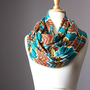 Chevron infinity scarf turquoise brown jersey