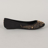 Bamboo Lula-20 Studded Round Toe Ballet Flat