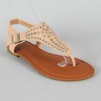 Lynk-17 Studded T-Strap Thong Flat Sandal