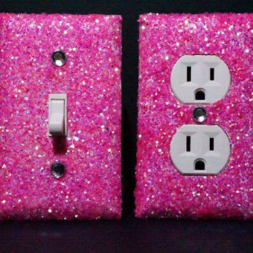 SET of Luminous Pink Glitter Switch Plate / Outlet Covers ANY STYLES