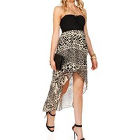 Black/White Strapless Hi Lo Dress