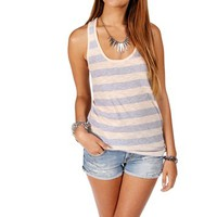 Peach/Heather Gray Stripe Racerback Tank Top