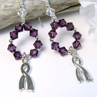 Purple Awareness Crystal Earrings, Sterling Silver Ribbons, Swarovski