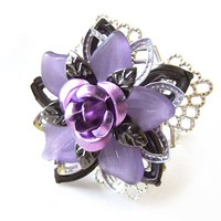 Lilac n Mauve Lucite Filigree Stacked Flower Cocktail Ring,Adjustable
