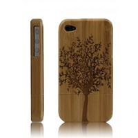 Handcarved Bamboo iPhone 4 / 4s Case - A Big Tree