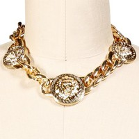 Gold Triple Lion Head Necklace
