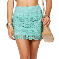 Mint Crochet Skirt