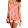 Coral/Ivory Tribal Print Tank